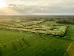 Drone shot of green fields in Germany.