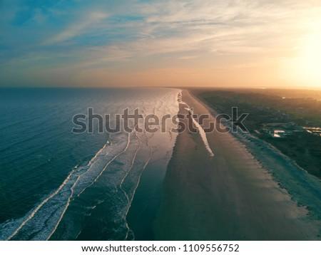 Drone shot of the beach at Kiawah Island, SC.