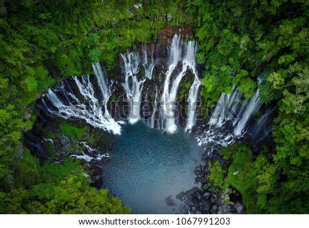 Drone shot of the Langevin Waterfall in Reunion Island. #1067991203
