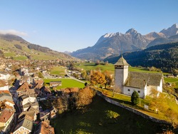 Drone shots from the Swiss alps. (Chateau d'Oex, Lac du Vernex)