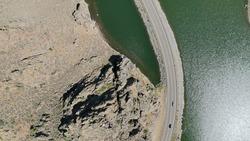 Drone shots of blue mesa reservoir in colorado