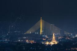Drone show about The King rama 9, Bhumibol Adulyadej in memorial, at Rama 8 Bridge and Temple of Dawn or Wat Arun, Urban town city, Bangkok skyline. downtown area, Thailand at night.