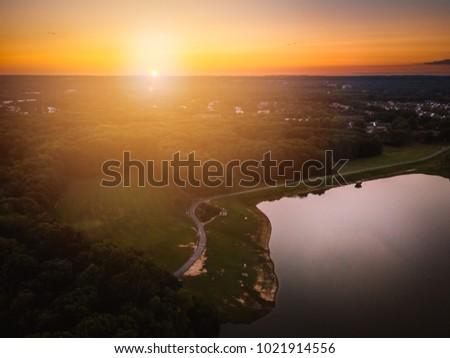 Drone Sunflare Landscape #1021914556