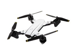 Drone Technology concept . Pocket spy Foldable Drone quadrocopter, with photo camera flying isolated on white background,with clipping path.