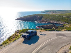 Drone view blue pick up on the road in turkey