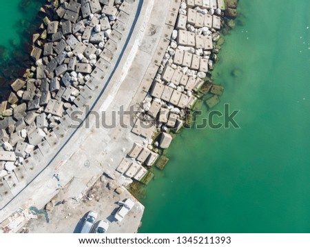 Drone view Karaburun Harbour and fishing boats in sunny summer day. Terkos Istanbul Turkey Stok fotoğraf ©