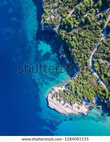 Drone view of Aegean sea. A beautiful cove in Izmir.