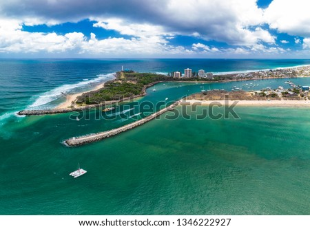 Drone view of famous Mooloolaba beach and marina on sunny day #1346222927