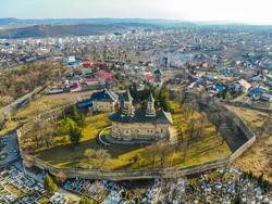 Drone view of Galata Monastery from Iași City, Romania