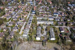 Drone view of houses in Choszczowka area of Warsaw, capital city of Poland