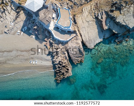 Drone view of idyllic beach in Albania (Albania Riviera) Location is Sphella Lukove, Albania