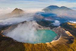 Drone view of Kawah Ijen crater in Banyuwangi Regency of East Java, Indonesia