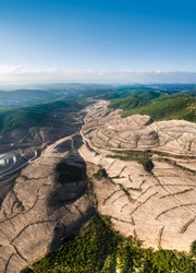 Drone view of Kaz Mountains. Deforestation of mountain in Canakkale / Turkey. Gold mine from above.