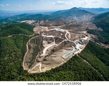 Drone view of Kaz Mountains. Mount Ida gold mine. Deforestation of the mountain in Canakkale / Turkey. Gold mine from above.  Сток-фото ©