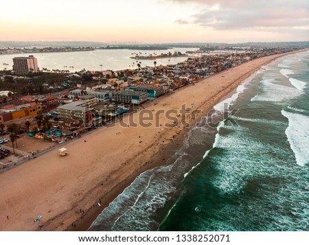 Drone view of Pacific beach and Mission bay in San Diego California
