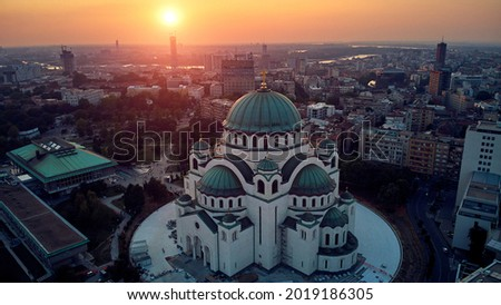 Drone view of Saint Sava temple, one of the largest Orthodox churches in the world - Belgrade, Serbia. Stok fotoğraf ©