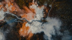 Drone view of Seltun geothermal field in Krysuvik,Iceland.Volcano geothermal volcanic activity drone video - Iceland landscape nature showing volcanic active hot springs and mud pots.