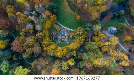 Drone view of the beautiful colourful Autumn park in Żywiec, Śląsk, Poland Zdjęcia stock ©