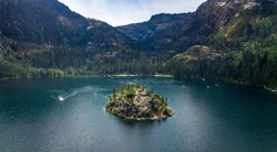 Drone view of the Emerald Bay in South Lake Tahoe California