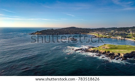 Drone view of the Pebble Beach Golf Course, Arrowhead Point and the Pescadero Rocks in Monterey California #783518626