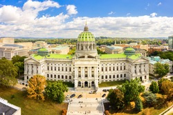 Drone view of the Pennsylvania State Capitol, in Harrisburg. The Pennsylvania State Capitol is the seat of government for the U.S. state of Pennsylvania