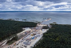 Drone view of Vistula Spit canal called Nowy Swiat - New World ship canal building site between Vistula Lagoon and Bay of Gdansk, Baltic Sea, Poland