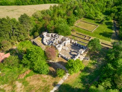 Drone view over Great Preslav (Veliki Preslav), Shumen, Bulgaria. Ruins of The capital city of the First Bulgarian Empire medieval stronghold