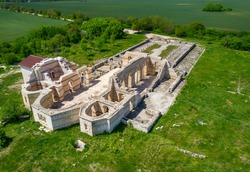 Drone view over Pliska, Bulgaria and the Ruins of The Great Basilica - largest Christian cathedral in medieval Europe near The capital city of the First Bulgarian Empire