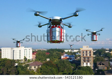 Drone with white gift box flying over the town. 3D illustration