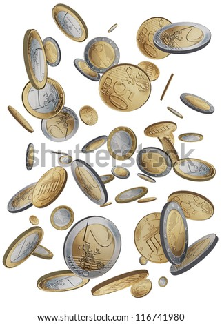 Drop coins of 1 euro, 2 euro and 50 cents