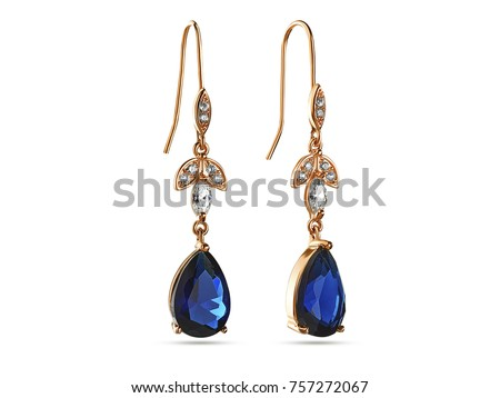 Drop earrings with blue crystals on white background, jewelr