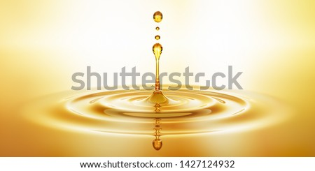 Drop of golden oil -  concept of wellness and beauty products - 3D illustration
