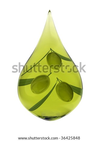 Drop of olive oil with three olives - stock photo