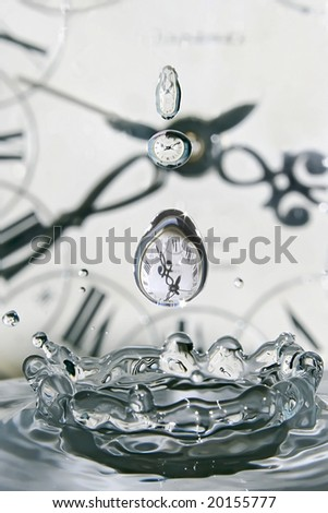 Drop of time. Play with water and clocks.