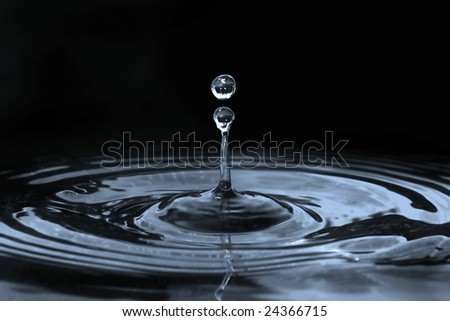 drop of water isolated on black
