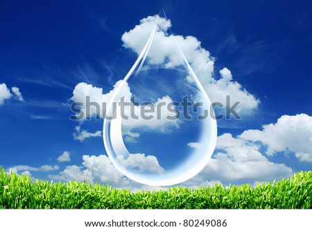 Drop of water  on sky background.
