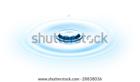 Drop of water on white