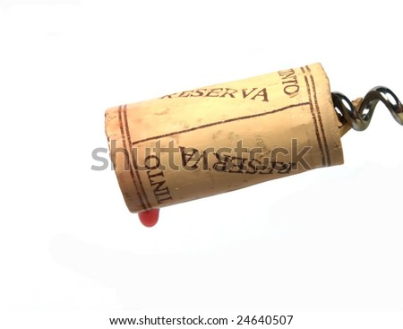 drop of wine falling from a wine cork