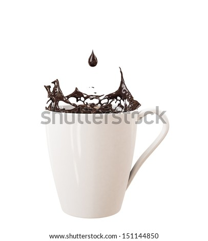 droplet and splash of black chocolate in big cup, isolated on white background - stock photo