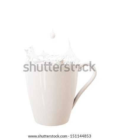 droplet and splash of milk in big cup, isolated on white background