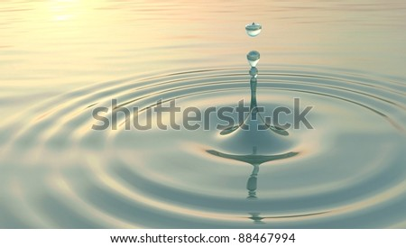 Droplet water splash in calm water: 3D rendering