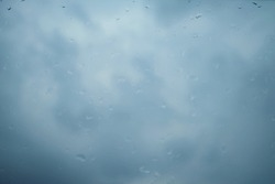 droplets of the rain with sky