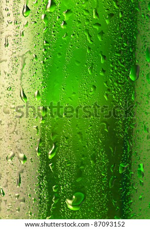 Droplets on the bottle of beer , abstract background