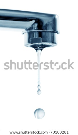 drops and faucet isolated on a white background