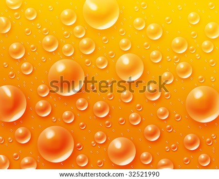Drops in the yellow background
