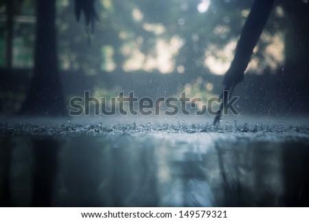 Drops of heavy rain in the tropical jungles