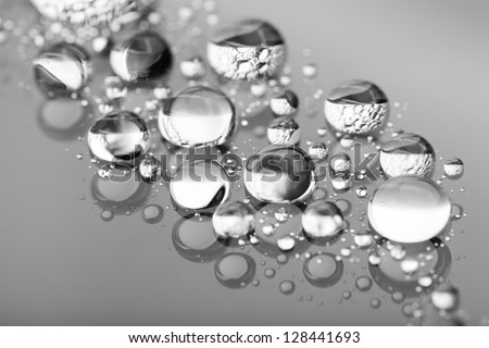 drops of on glass treat water-repellent in macro lens shot