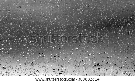 Drops of rain on glass #309882614