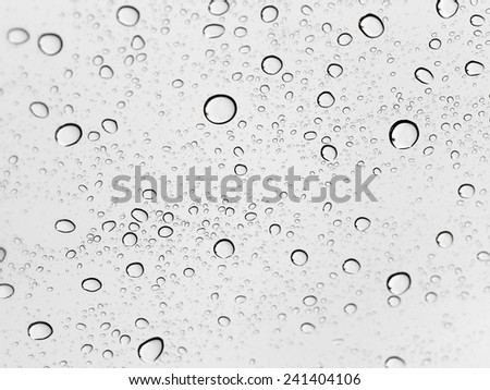 Drops of rain on the inclined window (glass). #241404106