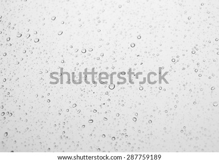 Drops of rain on the inclined window (glass). Shallow DOF